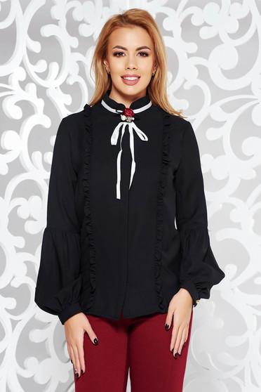 Camasa dama Fofy neagra eleganta cu croi larg din voal cu brosa in forma de floare