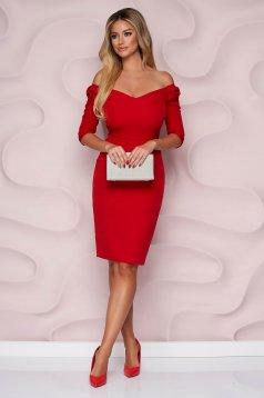Rochie StarShinerS rosie midi tip creion de ocazie din stofa usor elastica cu decolteu in v si fundita pe umeri