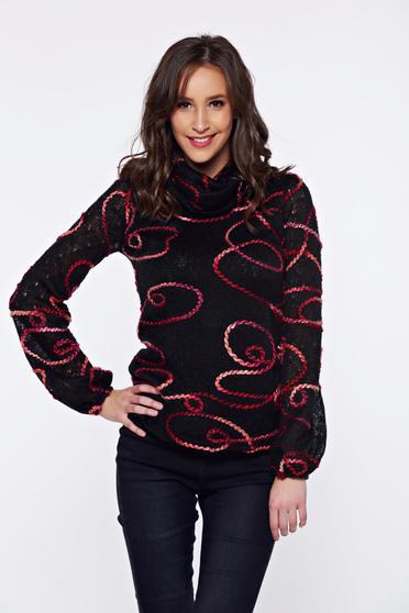 Pulover PrettyGirl negru casual tricotat cu croi larg