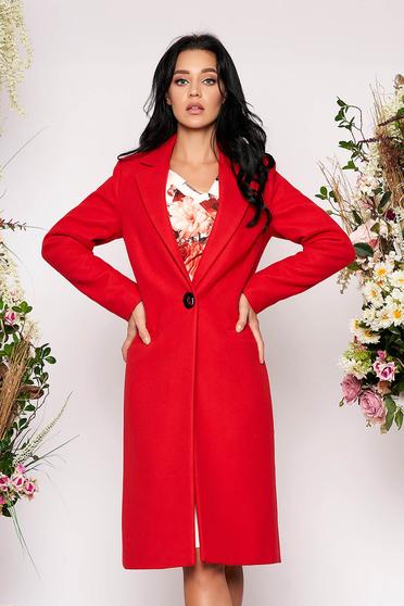 Palton LaDonna rosu basic cu un croi drept din lana captusit pe interior cu buzunare