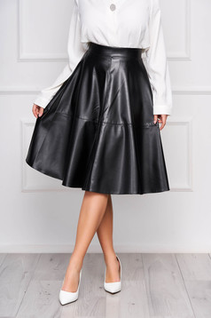 StarShinerS black casual cloche high waisted skirt from ecological leather