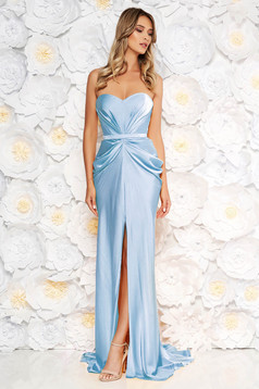 Ana Radu luxurious off shoulder dress from satin fabric texture with push-up bra accessorized with tied waistband aqua