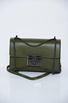 Green natural leather casual bag metallic chain accessory