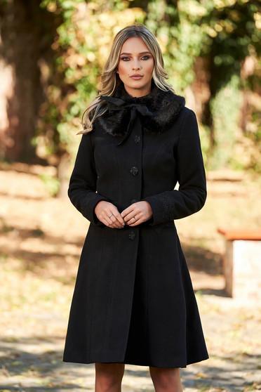 Palton StarShinerS negru best impulse elegant din lana cu insertii de broderie captusit pe interior cu buzunare
