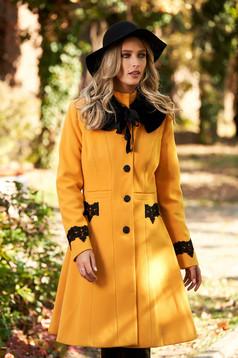 Palton mustariu StarShinerS best impulse elegant din lana cu insertii de broderie captusit pe interior