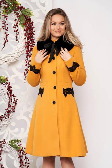 Palton StarShinerS mustariu best impulse elegant din lana cu insertii de broderie captusit pe interior