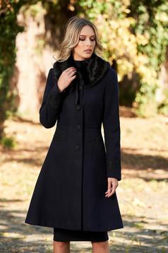 Palton albastru-inchis StarShinerS best impulse elegant din lana cu insertii de broderie captusit pe interior