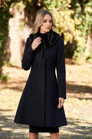 Palton StarShinerS albastru-inchis best impulse elegant din lana cu insertii de broderie captusit pe interior cu buzunare