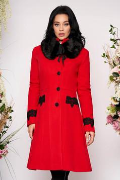 Palton rosu StarShinerS best impulse elegant din lana cu insertii de broderie captusit pe interior