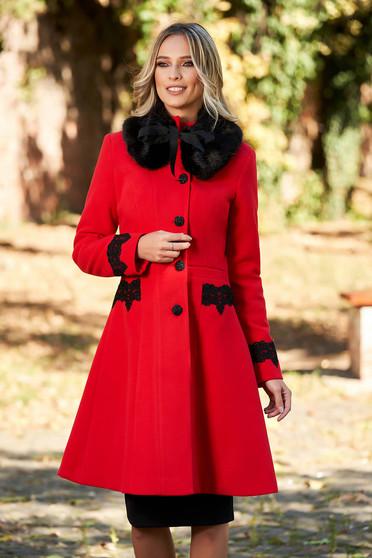 Palton StarShinerS rosu best impulse elegant din lana cu insertii de broderie captusit pe interior
