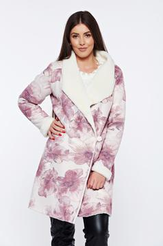 Blana StarShinerS rosa casual imblanita din velur cu imprimeu floral