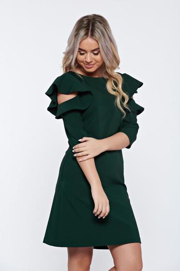 Rochie LaDonna verde-inchis cu croi in a de zi din stofa usor elastica cu volanase la maneca