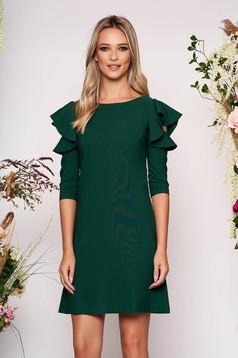 Rochie LaDonna verde-inchis eleganta de zi din stofa usor elastica cu croi in a si volanase la maneca