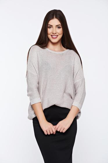 Pulover Top Secret nude casual tricotat cu croi larg