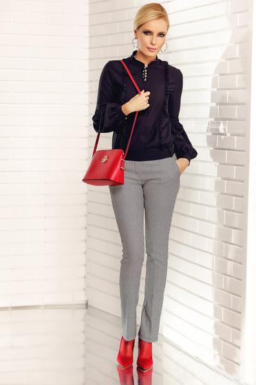 Pantaloni Fofy negri office cu talie medie din stofa usor elastica cu buzunare