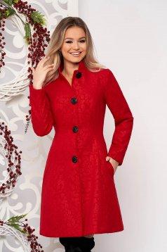 Palton Artista rosu scurt elegant in clos din stofa neelastica cu umerii buretati captusit pe interior