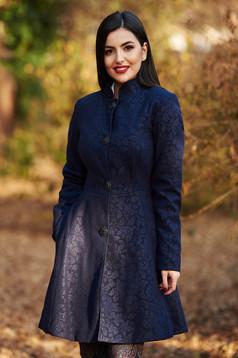 Palton Artista albastru-inchis elegant in clos din stofa neelastica captusit pe interior