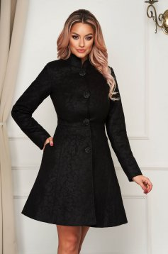 Artista black elegant coat from non elastic fabric with inside lining