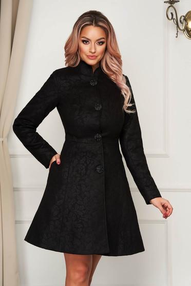 Artista black elegant coat from non elastic fabric with inside lining