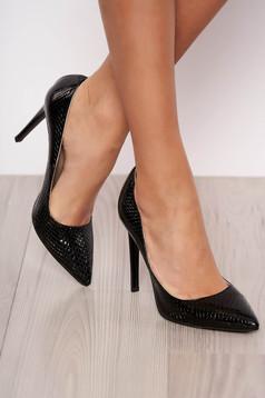 Pantofi stiletto negri eleganti din piele naturala cu toc inalt