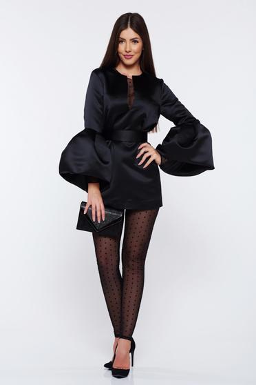 Set Ana Radu negru elegant din satin cu pantaloni accesorizat cu cordon