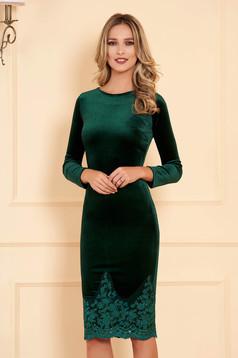 Artista green occasional velvet pencil embroidered dress