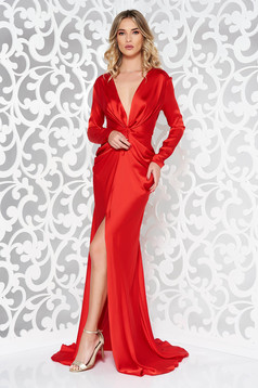 Ana Radu red occasional long sleeved dress accessorized with tied waistband