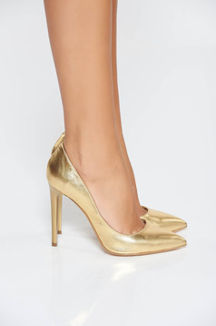 Pantofi stiletto aurii din piele naturala cu toc inalt cu varful usor ascutit