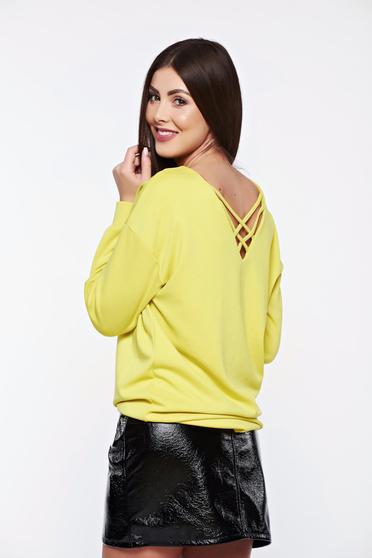 Bluza dama Top Secret galbena casual cu croi larg din material elastic