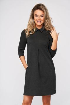 Darkgrey dress short cut daily a-line slightly elastic fabric