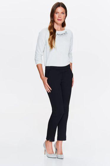 Pantaloni Top Secret negri casual conici cu talie medie cu elastic in talie