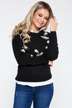 Pulover Top Secret negru casual brodat din material tricotat