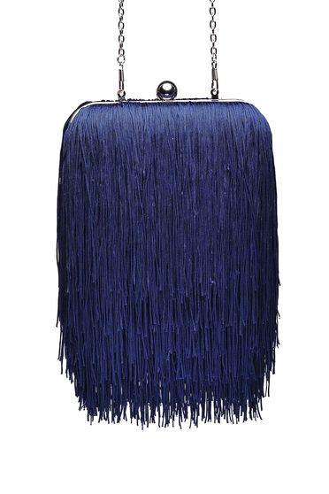 Geanta dama Top Secret albastru-inchis de ocazie cu maner lung tip lantisor cu franjuri