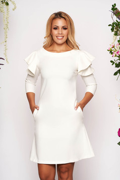 White daily elegant a-line dress slightly elastic fabric with ruffled sleeves