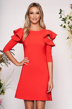 Coral daily elegant a-line dress slightly elastic fabric with ruffled sleeves