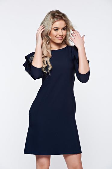 Rochie LaDonna albastru-inchis cu croi in a de zi din stofa usor elastica cu volanase la maneca
