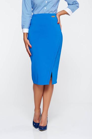 Fusta LaDonna albastra office din stofa subtire usor elastica captusita pe interior