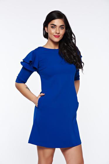 Rochie LaDonna albastra cu croi in a de zi din stofa usor elastica cu volanase la maneca