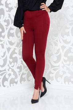 Pantaloni PrettyGirl visinii office conici cu talie inalta din material elastic cu elastic in talie