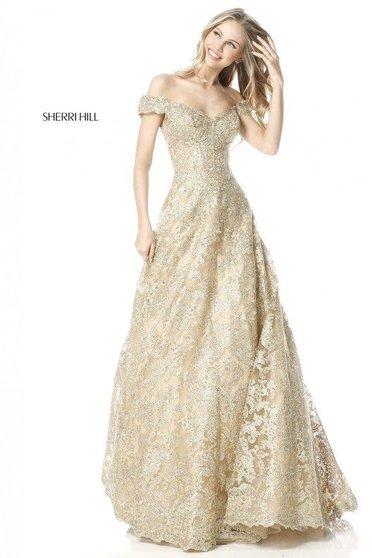 Rochie Sherri Hill 51573 Gold