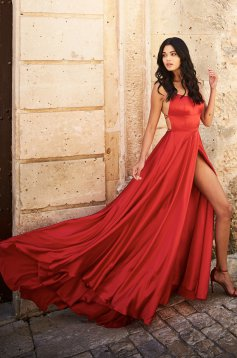 Sherri Hill red dress luxurious flaring cut from satin fabric texture with straps long
