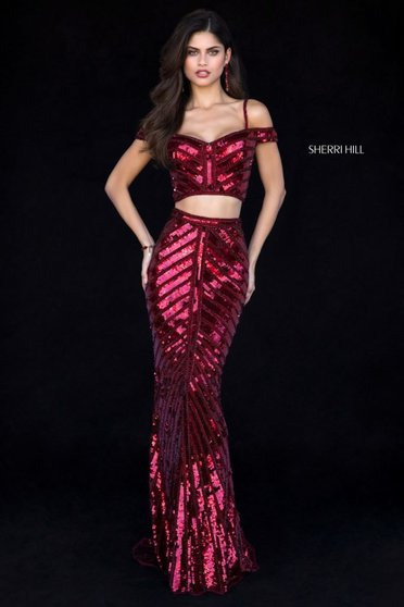 Rochie Sherri Hill 51934 burgundy
