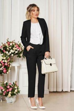 Pantaloni StarShinerS negri office cu un croi drept din stofa usor elastica cu talie medie si buzunare