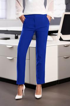 Pantaloni StarShinerS albastri office cu un croi drept cu talie medie cu buzunare din stofa usor elastica