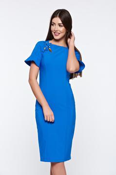 Rochie LaDonna albastra eleganta captusita pe interior cu aplicatii cusute manual