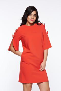 Rochie LaDonna rosie eleganta din stofa usor elastica cu croi larg