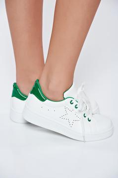 Pantofi sport alb casual din piele ecologica cu siret