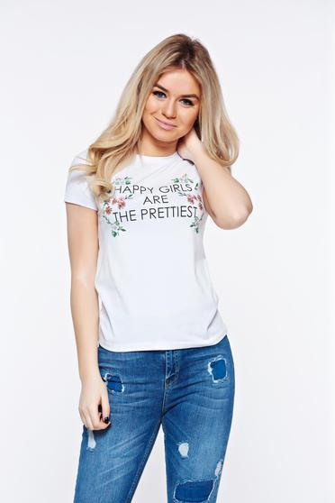Tricou Top Secret alb casual cu croi larg din bumbac cu imprimeuri florale