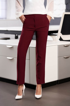 Pantaloni StarShinerS visinii office cu un croi drept din stofa usor elastica cu talie medie si buzunare