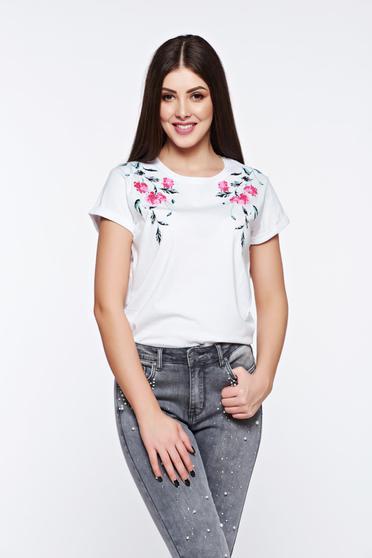 Tricou Top Secret alb casual din bumbac cu croi larg cu imprimeuri florale